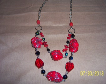 Red Jasper Wire Wrapped Double Necklace