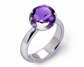 CUP Silver Engagement Ring, Solitaire Silver Amethyst Ring, Large Amethyst Ring, Amethyst Engagement Ring, Mothers Day Gift
