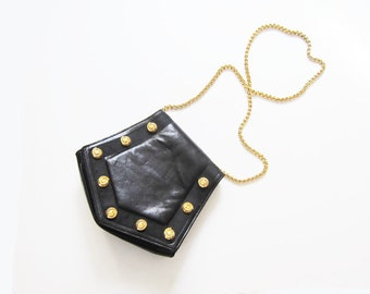 90s chain strap purse - gold chain strap cross body bag - gold stud 90s leather purse - versace - chanel - vintage black bag