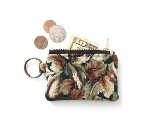 Botanical Keychain Coin Purse Leaves