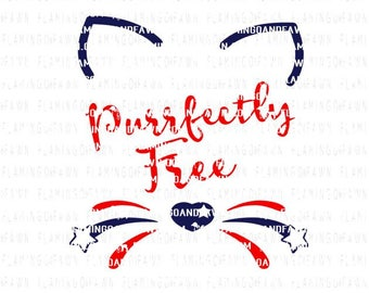 4th of july svg, cat face svg, cat svg file, cat cut file, cat png, 4th of july girl svg, pet svg, fourth of july svg, cat clipart