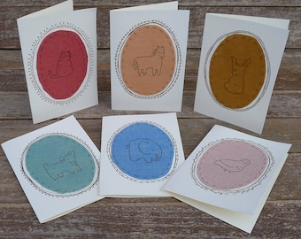 plant-dyed animal patch letterpress cards - cat, horse, rabbit, dog, elephant, bird: by kata golda