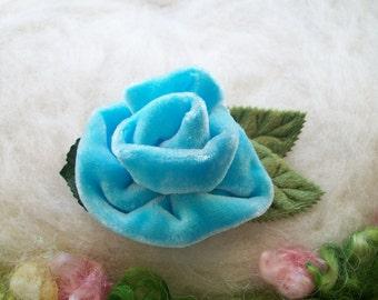 Velvet Rose Hair Clip Silk Turquoise Blue Velvet Green Leaves and Foliage Velvet Rose Lapel Clip Scarf Clip Collar Clip Hat Clip Handmade