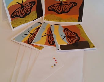"""Eco Friendly, Handmade greeting cards, """"Monarchs in Flight""""  recycled collage, set of 5"""