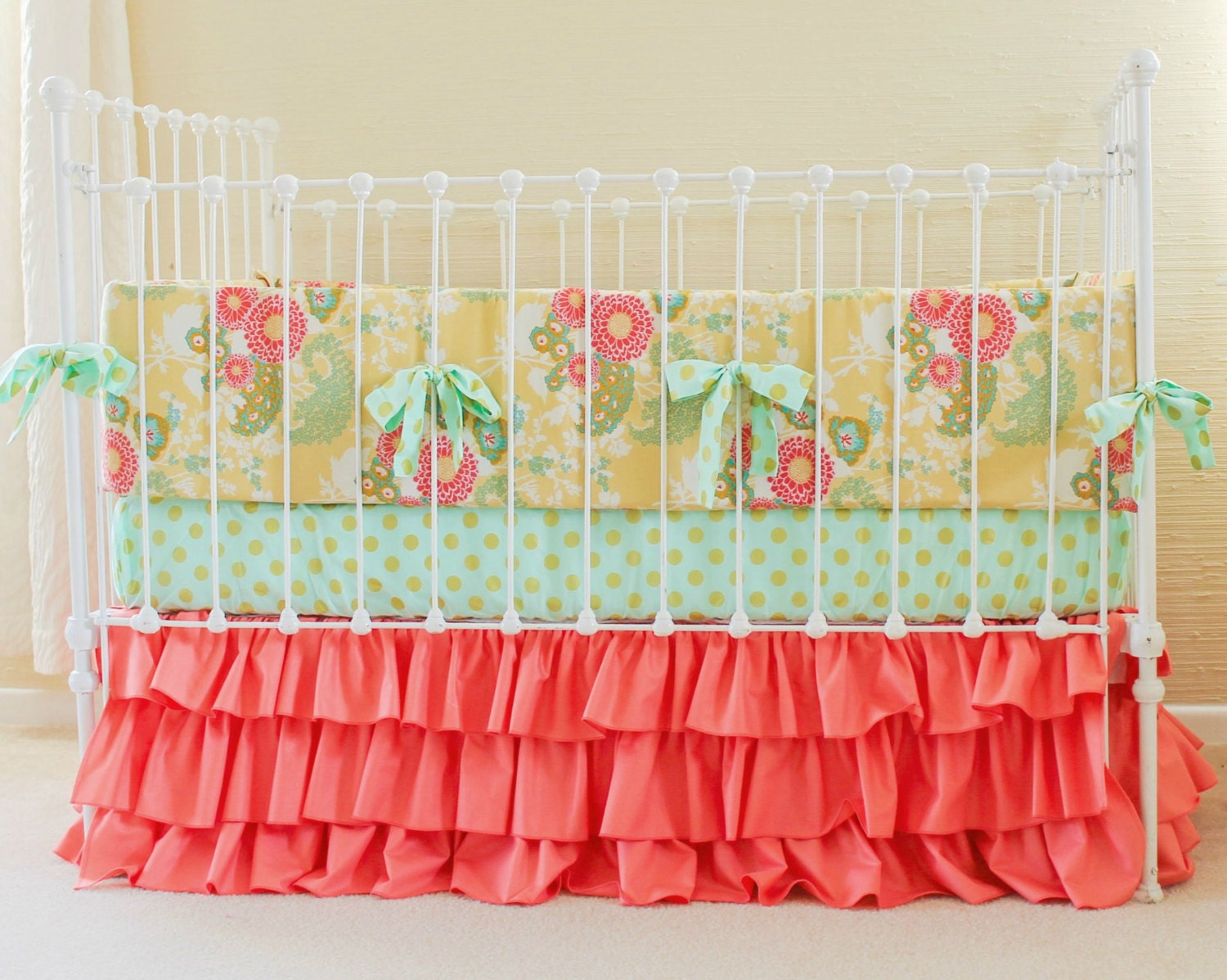 SALE 17% Off Coral Mint Gold Crib Bedding Coral Baby Bedding