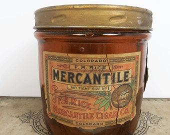 F.R. Rice Mercantile Cigar Co. Glass Jar with Labels, Air Tight Humidor, Antique Tobacciana
