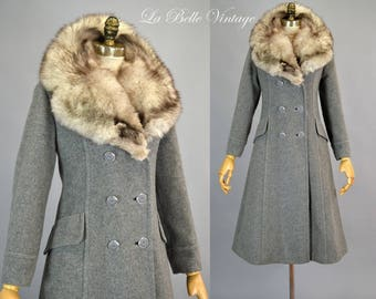 Silver Fox Collar Princess Coat S M Vintage 70s Wool Fit and Flare Gray Peacoat ~ Unworn