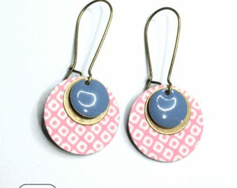 Pink Japanese paper earrings