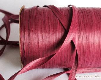 Burgundy Claret Raffia Ribbon - 30/100 yards - 1/4 inch wide