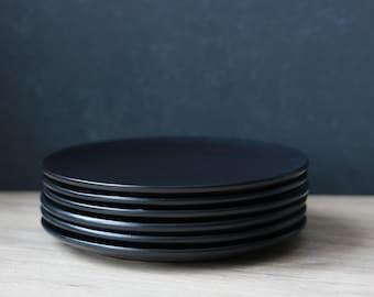 Ceramic Plate Set - 4pc or 6pc Black Plate Pottery Plate Set Modern & Modern plate ceramic plate set modern dinnerware modern