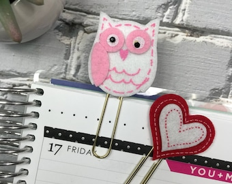 Valentines Owl and Heart Paperclip Set