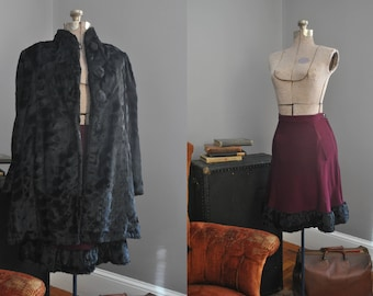 Early 1940s Faux Fur Coat and Skirt set