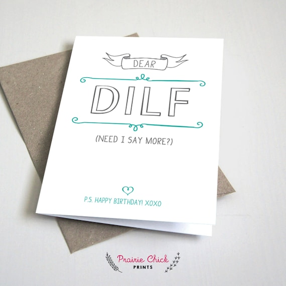 Dear dilf birthday card dad or father boyfriend or husband dear dilf birthday card dad or father boyfriend or husband teal and grey 5x7 folded card printable diy instant download bookmarktalkfo Gallery