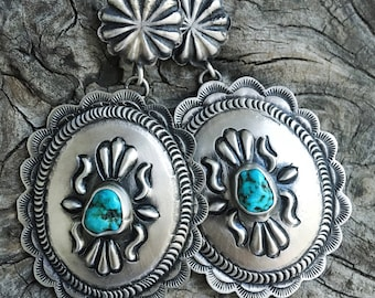 Handmade Southwestern Native American Indian Sand cast Sterling Silver and Nevada Turquoise Earrings