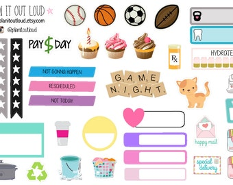 Sampler Sheet of Stickers (planner stickers)