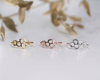 Honeycomb - Hive Ring Rose Gold / Gold / Silver