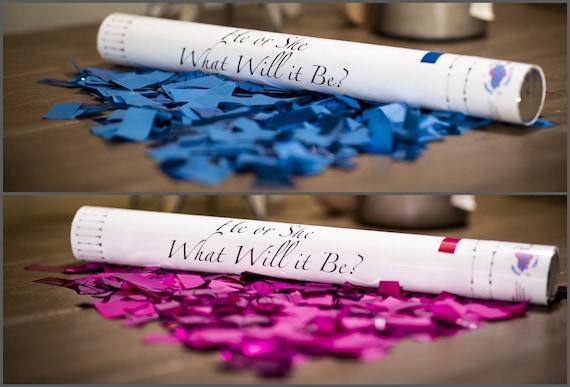 "18"" CONFETTI CANNON Gender Reveal Pink, Blue, White Confetti Cannons! Unique Gender Reveal Idea! Confetti Poppers Confetti Sticks"
