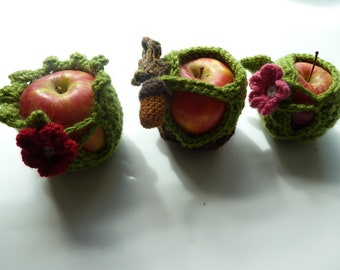Crochet Pattern Set for Cute Apple Jacket Cozies - perfect Teacher gift - Fall gifts