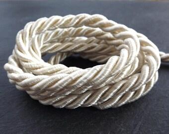 Gentle Beige Cream 7mm Twisted Rayon Satin Rope Silk Braid Cord - 3 Ply Twist - 1 meters - 1.09 Yards