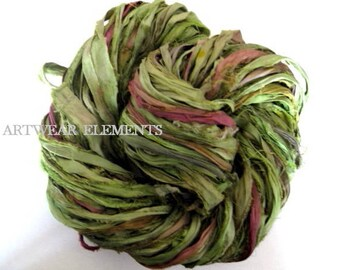Pure Sari Silk, Iguana Mix, Per Yard, Chartreuse, Recycled Sari Silk, Fabric, Ribbon, Silk, Sari silk, ArtWear Elements, 220
