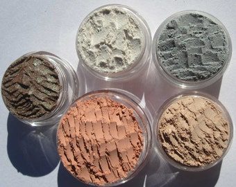 Five Piece Mineral Eyeshadow Vegan Beauty Makeup Gift Set | Loose Pigments | - Mom Gift, Teen Gift, Gift-Giving Idea