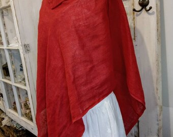 Red Linen Poncho | Washed Linen Poncho | Open Weave Washed Linen Cape | Linen Poncho | Sophia Cape | The Wild Raspberry
