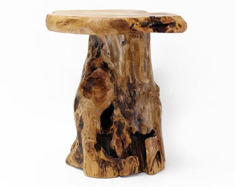 Reclaimed Cedar Wood Live Edge Side Table, End Table, Stool, Accent Table,