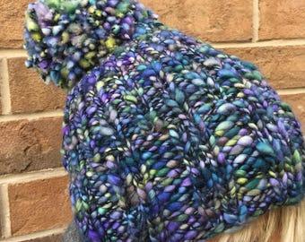 Beginner knitting kit, hat knitting kit, DIY knitting kit, hat with extra large pom pom, Merino wool, Malabrigo, women's gift idea, wool hat
