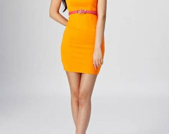 Neon Orange Cut Out Back Dress With Pink Neon Belt