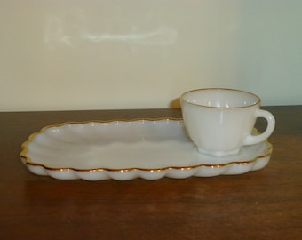Fire King Luncheon Tray with Cup