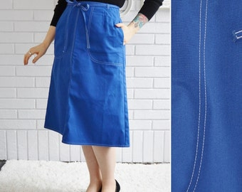 Vintage 1970s Blue Wrap Skirt with White Stitching by Koret Size Small
