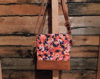 "Rifle Paper Co. Flower Crossbody "" painted orange florals"""