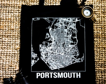 Portsmouth Tote Bag - Portsmouth Map Print - Black White Tote Bag - Reusable bag - Shopping bag - Gift - Portsmouth Gift