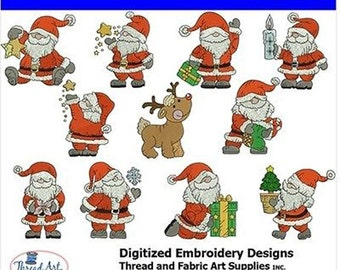 Embroidery Design Cd - Santa (4) - 11 Designs - 8 Popular Formats - Threadart