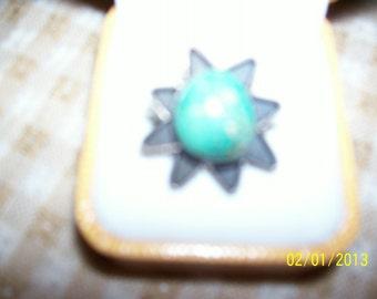 Silver and Turquiose Ring, sunburst design