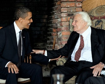 President Barack Obama meets with Rev. Billy Graham at his home in Montreat, North Carolina on April 25, 2010