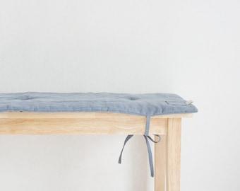 Linen Custom Bench pad,Dark blue grey