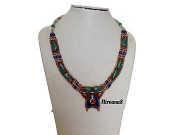 Lapis Coral Turquoise Necklace