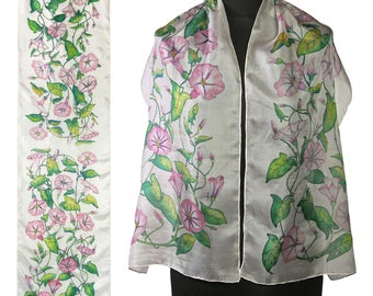 White silk scarf hand painted floral scarves OOAK gift for her bindweed pink flowers shawl womans gift