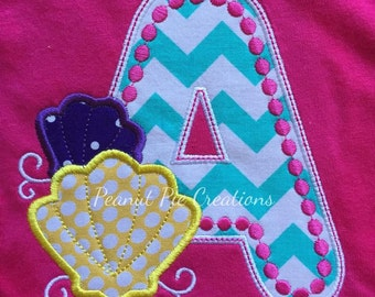 Custom embroidered initial with shells shirt - beach - summer - seashells - birthday - monogram