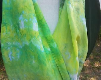 Green Silk Scarf or Head Wrap