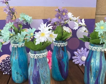 Painted Starbucks Bottles. Set of 4. Acrylic Pour Painting.  Party Centerpieces.  Painted Jars.