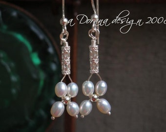 FORGET PARIS - myBouquet Beaded  Floral Design - Pearl and Sterling Silver Earrings - Handmade by DORANA