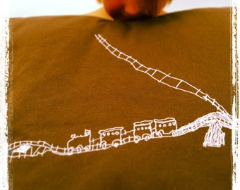 Child's drawing embroidered pillowcase