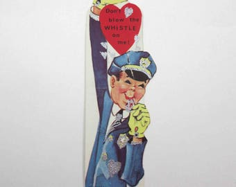 Vintage Children's Novelty Valentine Greeting Card with Policeman or Cop in Uniform Blowing Whistle