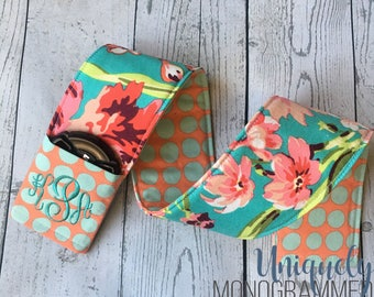 Personalized Camera Strap Cover- Amy Butler Coral and Teal Floral/dots