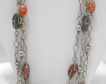 Vintage Triple Strands Wired Gemstones Necklace (946)