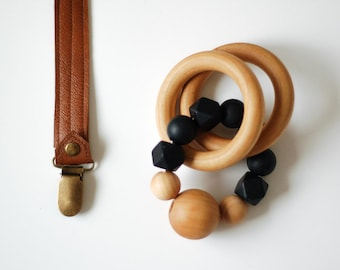 Leather Pacifier Clip and Teething Ring Set || Silicone Ring, Leather Pacifier Clip Boy, Baby Boy gift, Toy leash, Teether Toy, Silicon Ring
