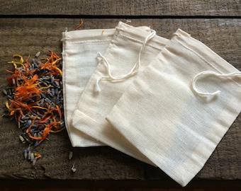 Organic Cotton Tea Bags (3) - Reusable - Muslin Tea Bags - Tea Infuser - Organic - Drawstring - Reuse