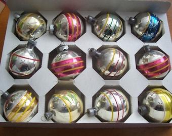 One Dozen Assortedn Stripe Christmas Ornaments